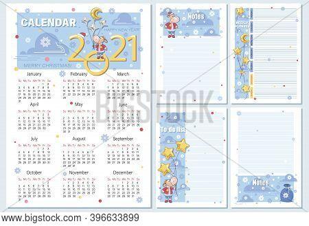 Calendar 2021, Planning. Cartoon Santa Claus Calf, Gifts, Stars. Set. Vector Cartoon Character.
