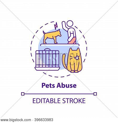 Pets Abuse Concept Icon. Harm To Cat From Owner. Violence To Dog. Aggression And Punishment. Animal