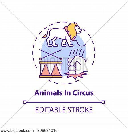 Animals In Circuses Concept Icon. Cruelty For Entertainment And Amusement. Animal Abuse, Wildlife Ha