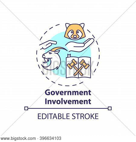 Government Involvement Concept Icon. Animal Welfare. Legal Act. Animal Abuse And Wildlife Conservati