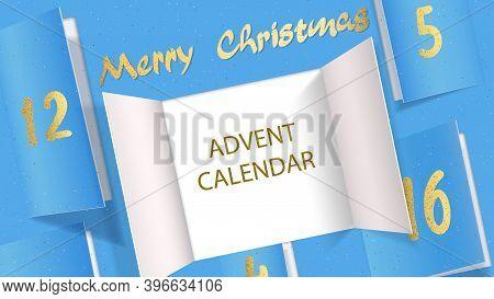 Christmas Advent Calendar Door Opening. Realistic An Open Wide Doors On Light Blue Background. Templ