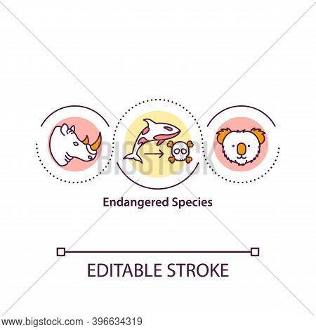 Endangered Species Concept Icon. Vulnerable And Threatened Animals Idea Thin Line Illustration. Habi