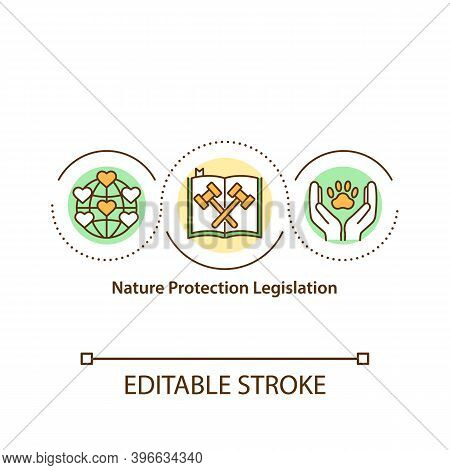 Nature Protection Legislation Concept Icon. Environment Conservation Idea Thin Line Illustration. Bi