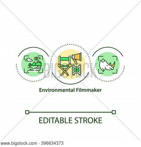 Environmental Filmmaker Concept Icon. Environment Conserving Through Media Power Idea Thin Line Illu