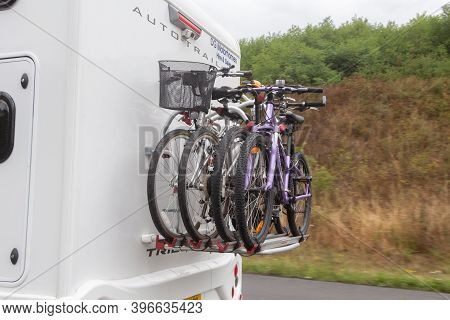 Reims - France, August 18, 2019 : Bikes On A Rack At The Back Of A Camper