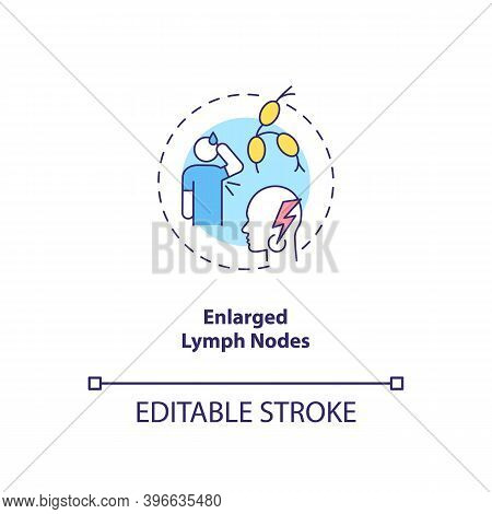 Enlarged Lymph Nodes Concept Icon. Cfs Symptom Idea Thin Line Illustration. Painless Lump In Neck. F