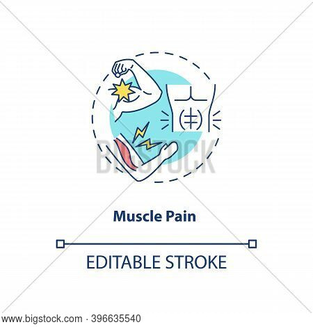 Muscle Pain Concept Icon. Cfs Symptom Idea Thin Line Illustration. Sore And Aching Muscles. Lingerin