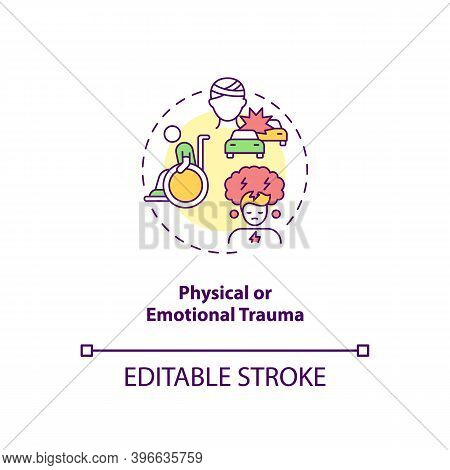 Physical And Emotional Trauma Concept Icon. Cfs Cause Idea Thin Line Illustration. Injury And Surger