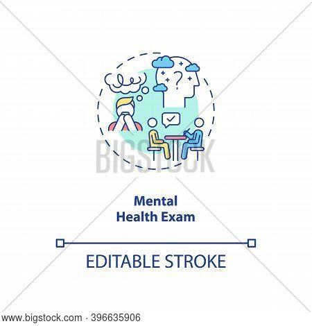 Mental Health Exam Concept Icon. Cfs Diagnostics Idea Thin Line Illustration. Psychological Disorder