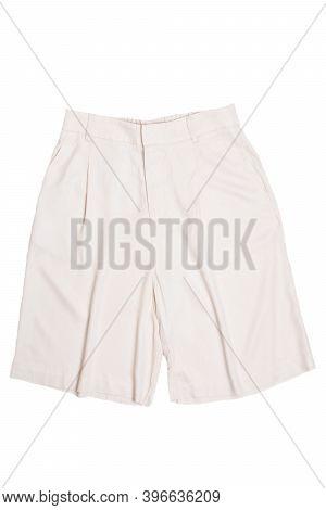 Women Shorts Isolated. Closeup Of A Female Stylish Fashionable Light Beige Short Pant Isolated On A