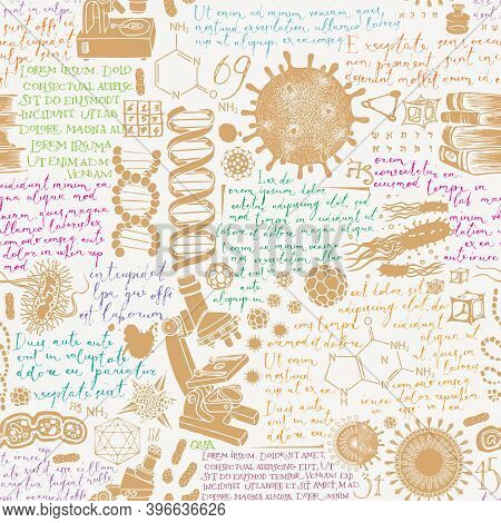 Hand-drawn Seamless Pattern On The Theme Of Chemistry, Biology, Genetics, Medicine, Science, Researc