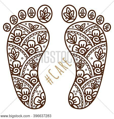 Footprint With Floral Mehndi Ornament. Sketch Of Legs, Skin Care Theme, Pedicure Or Procedures. Illu