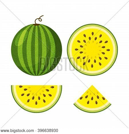 Yellow Watermelon Icons Set. Slices Of Watermelon And Whole Watermelon In A Flat Style.