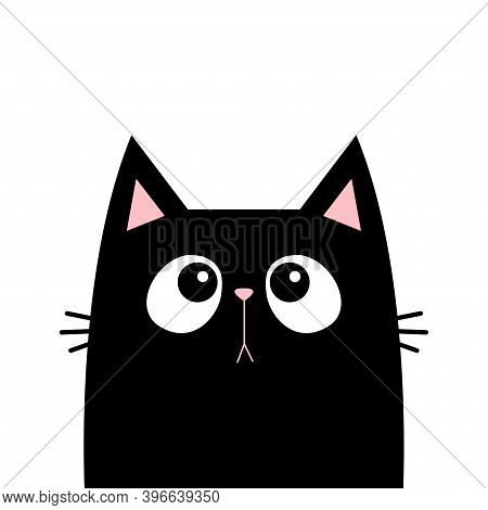 Cat Head Face Black Silhouette Looking Up. Cute Cartoon Baby Character. Kawaii Animal. Notebook Stic