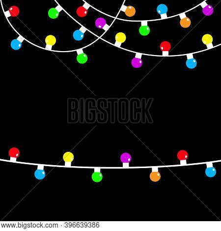 Christmas Lights String. Colorful Fairy Light Set. Holiday Festive Xmas Decoration. Lightbulb Glowin