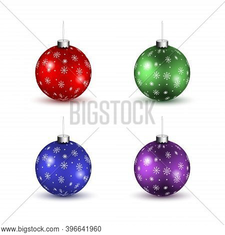 Set Of Realistic Christmas Balls, Red Green Blue Purple Christmas Balls, Set Of Colored Christmas Tr