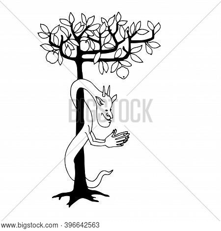Crafty The Serpent Tempter With Tree Of Knowledge, Biblical Character, Vector Illustration With Blac