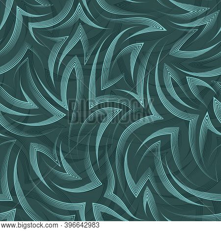 Vector Seamless Pattern Of Flowing Lines And Angles Drawn By A Pen On A Tidewater Green Background.