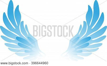 Vector Pair Of Wings Of Heavenly Color On A White Background.