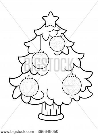 Coloring Page Of A Decorated Christmas Tree. Trace Christmas Ornaments Handwriting Practice For Kids