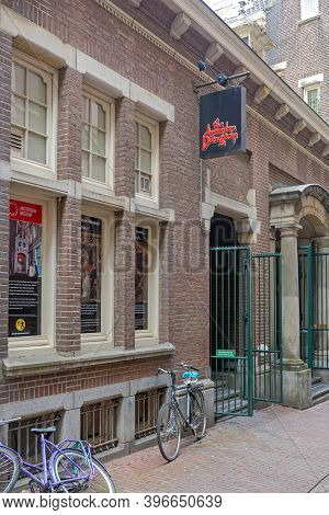 Amsterdam, Netherlands - May 16, 2018: Famous Dungeon Attraction Exit Door In Amsterdam, Holland.