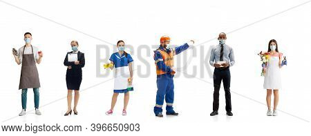 Group Of People With Different Professions Isolated On White Studio Background, Horizontal. Male And
