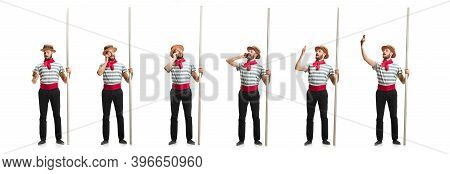 Handsome Male Gondolier, Seaman, Sailor Isolated Over White Studio Background. Concept Of Profession