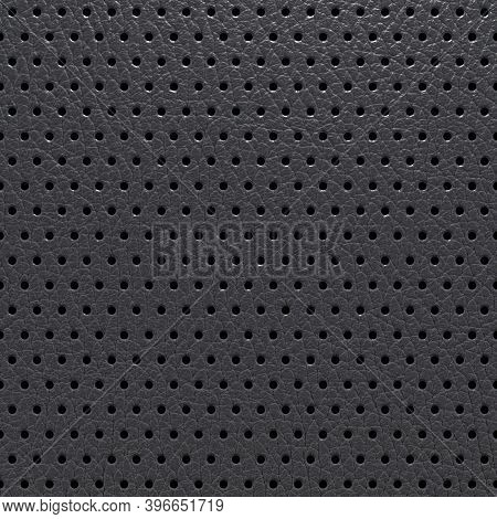 Perforated Leather Abstract Black Background, Texture With Regular Perforated Dots. 3d-rendering