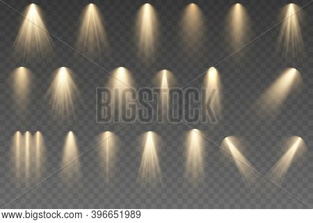 Set Of Lighting Effects. Spotlights Illuminate Stage, Podium. Glowing Light Effect. Vector Illustrat