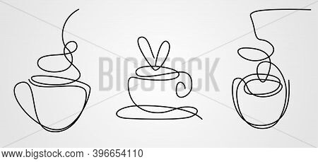 Cap Of Coffee Sketch. Mug Of Tea Outline Icon. Hot Drink Single Line Sign. Hand Drawn One Line Bever