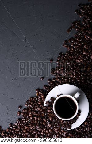 Coffee Cup And Beans On Old Grey Kitchen Beton , Rock Table. Top View With Copyspace For Your Text