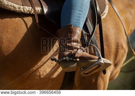 Cowboy Boot In Stirrup. Horseback Riding. Wild West. Horse.