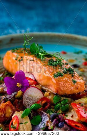 Grilled Salmon With Cooked Vegetables, Keto Friendly Salmon With Vegetables Diet Dish. Paleo, Keto,