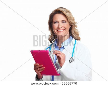 Smiling medical doctor woman with tablet computer. Isolated on white background.