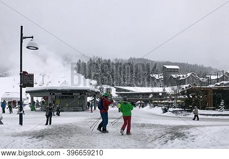 Whistler, Bc, Canada - January 16, 2020. Tourists Skiers At A Famouse Mountain Resort In Whistler. S