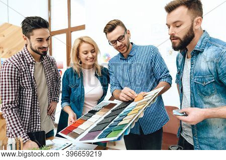 Team Of Designers Architects Look At Color Palette