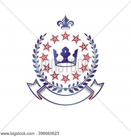 Royal Crown Emblem. Heraldic Vector Design Element. Retro Style Label, Heraldry Logo. Antique Logoty