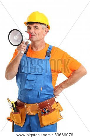 Construction superintendent directs repair isolated on white close-up