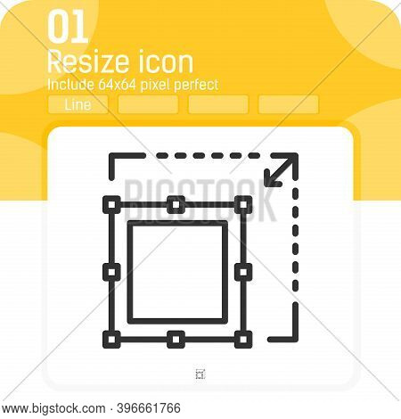 Enlarge Icon With Outline Style Isolated On White Background. Vector Illustration Resize Sign Symbol