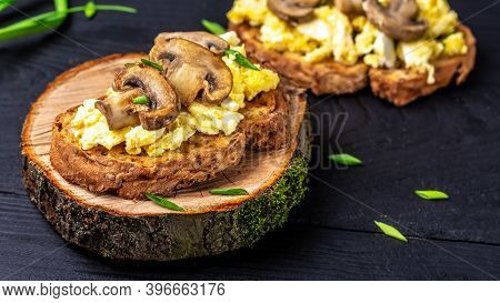 Healthy Breakfast Wholewheat Toast With Scrambled Eggs With Mushrooms, Long Banner Format.