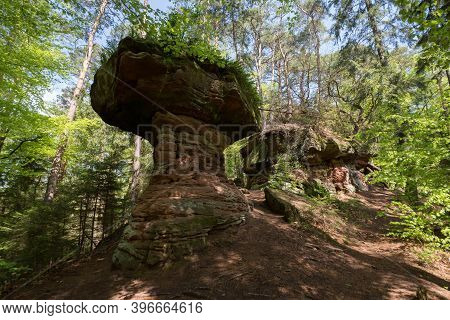 Sandstone Rock Formation Called Hexenpilz Near Dahn, Rhineland- Palatinate, Germany