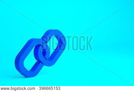 Blue Chain Link Icon Isolated On Blue Background. Link Single. Hyperlink Chain Symbol. Minimalism Co