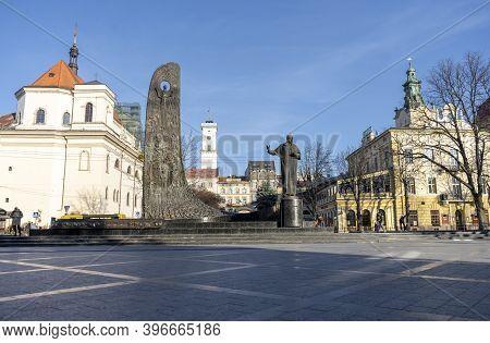Ukraine, Lviv, November 25, 2020: Monument To The Ukrainian Poet Taras Grigorievich Shevchenko On Sv
