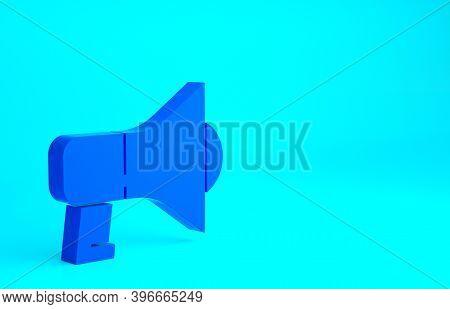 Blue Megaphone Icon Isolated On Blue Background. Speaker Sign. Minimalism Concept. 3d Illustration 3