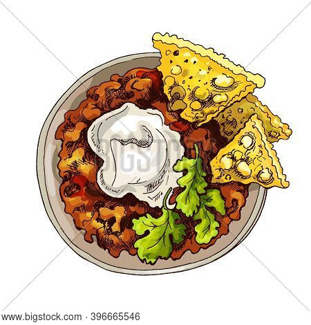 Chili Con Carne In Bowl - Mexican Traditional Food. Vector Vintage Hatching Color Illustration. Isol
