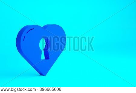 Blue Heart With Keyhole Icon Isolated On Blue Background. Locked Heart. Love Symbol And Keyhole Sign