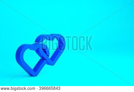 Blue Two Linked Hearts Icon Isolated On Blue Background. Romantic Symbol Linked, Join, Passion And W