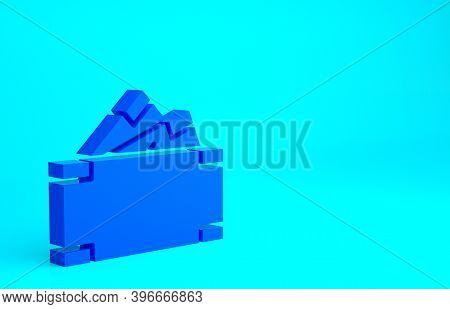 Blue Stacks Paper Money Cash Icon Isolated On Blue Background. Money Banknotes Stacks. Bill Currency
