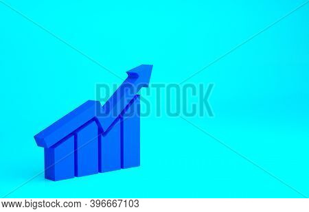 Blue Financial Growth Increase Icon Isolated On Blue Background. Increasing Revenue. Minimalism Conc