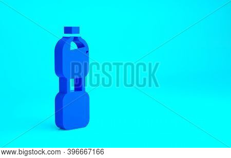 Blue Bottle Of Water Icon Isolated On Blue Background. Soda Aqua Drink Sign. Minimalism Concept. 3d